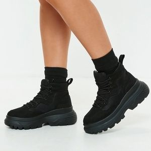 Missguided Double Sole Hiking Sneaker Boots